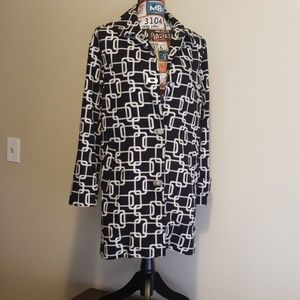 George black and white links coat